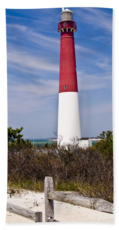Nautical Hand Towel featuring the photograph Barnegat Lighthouse by Anthony Sacco