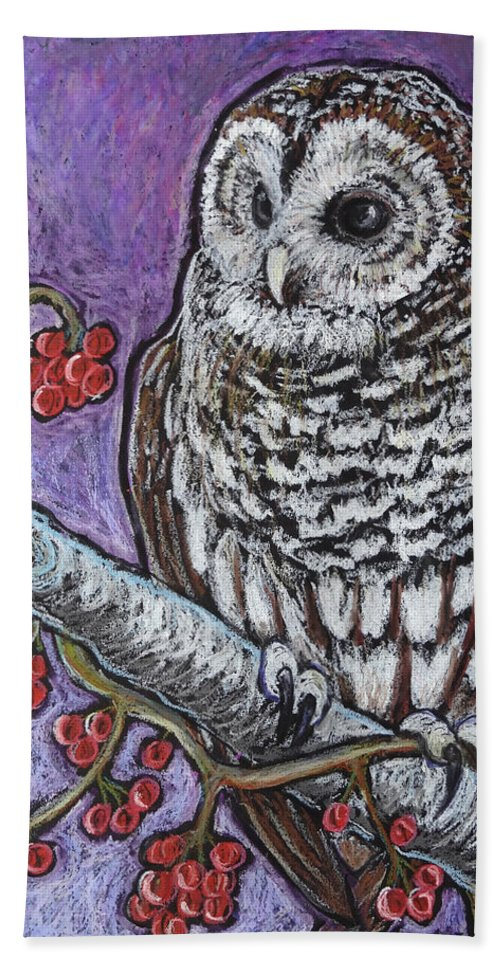 Owl Hand Towel featuring the painting Barred Owl And Berries by Ande Hall