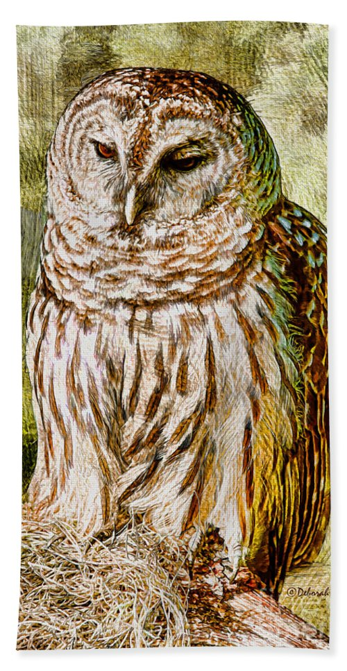 Owl Hand Towel featuring the photograph Barred Owl On Moss by Deborah Benoit