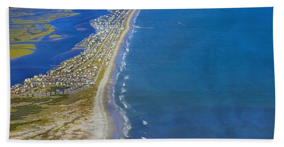 Topsail Hand Towel featuring the photograph Barrier Island Aerial by Betsy Knapp