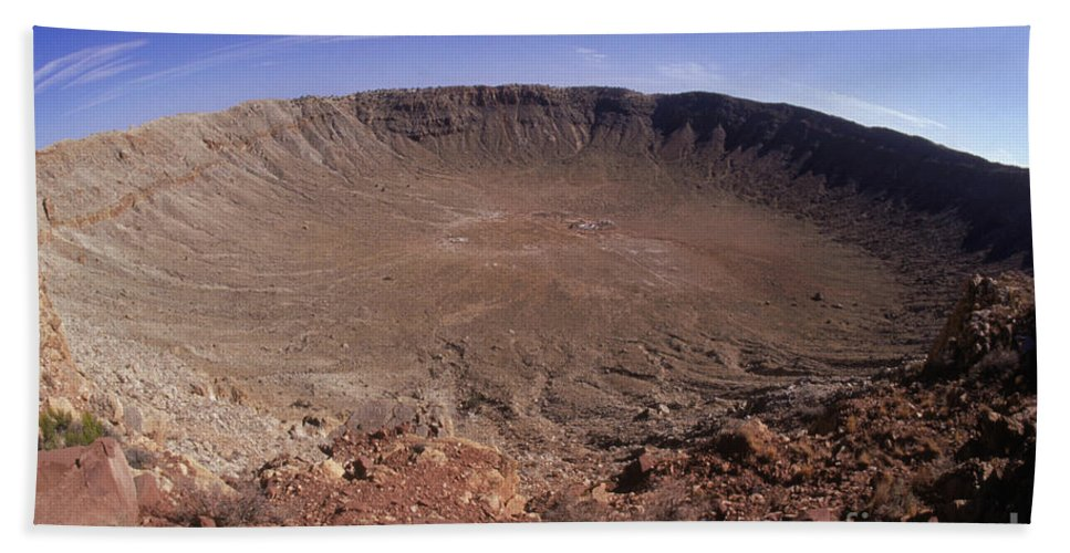 Meteor Crater Hand Towel featuring the photograph Barringer Crater, Fisheye View by Gregory G. Dimijian, M.D.