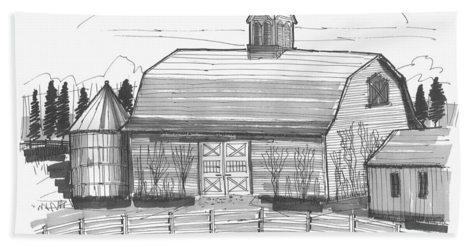 Barn Hand Towel featuring the drawing Barrytown Barn by Richard Wambach