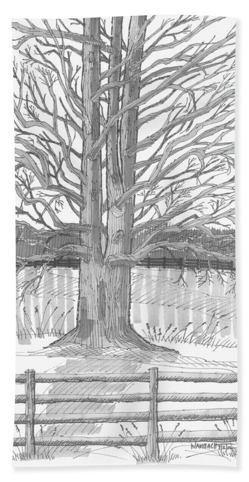 Landscape Hand Towel featuring the drawing Barrytown Tree by Richard Wambach