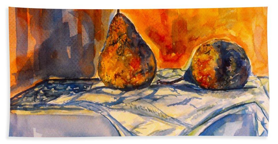 Kendall Kessler. Pear Paintings Bath Sheet featuring the painting Bartlett Pears by Kendall Kessler
