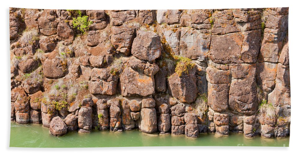 Background Hand Towel featuring the photograph Basalt Rock Columns Of Miles Canyon Yukon Canada by Stephan Pietzko