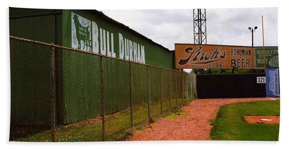 Ad Hand Towel featuring the photograph Baseball Field Bull Durham Sign by Frank Romeo