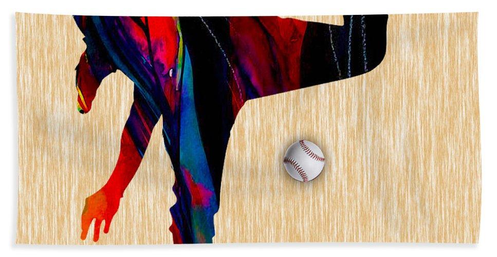 Baseball Bath Sheet featuring the mixed media Baseball Pitcher by Marvin Blaine