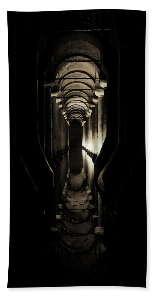 Istanbul Bath Sheet featuring the photograph Basilica Cistern by Stephen Stookey
