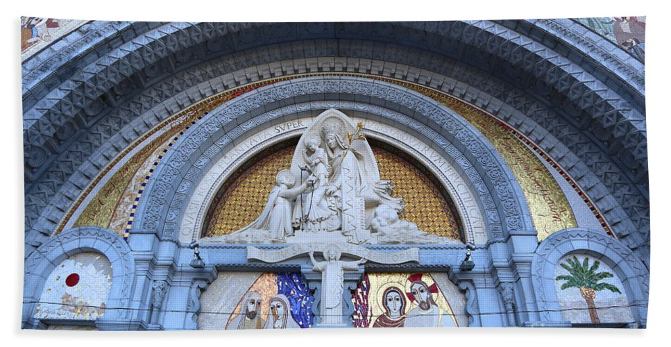 Lourdes Bath Sheet featuring the photograph Basilica Of Our Lady Of Lourdes by Carol Groenen