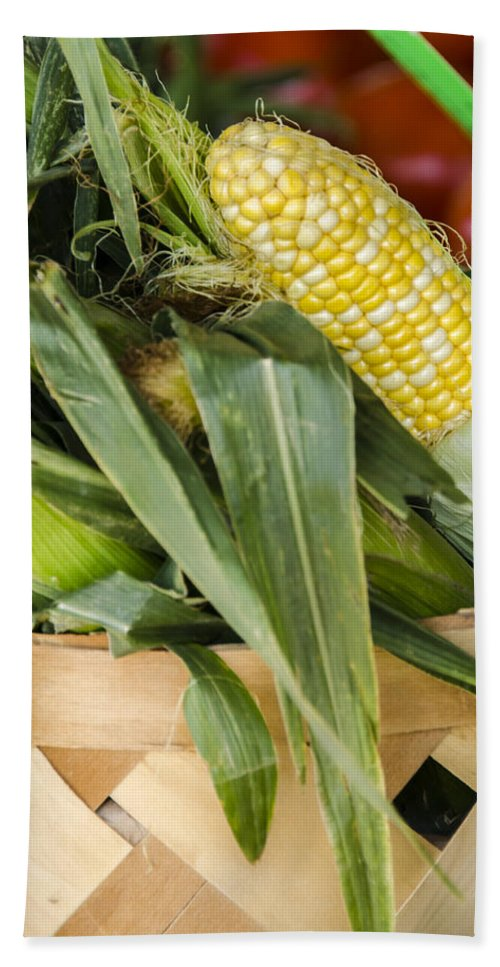 Corn Bath Sheet featuring the photograph Basket Farmers Market Corn by Carolyn Marshall