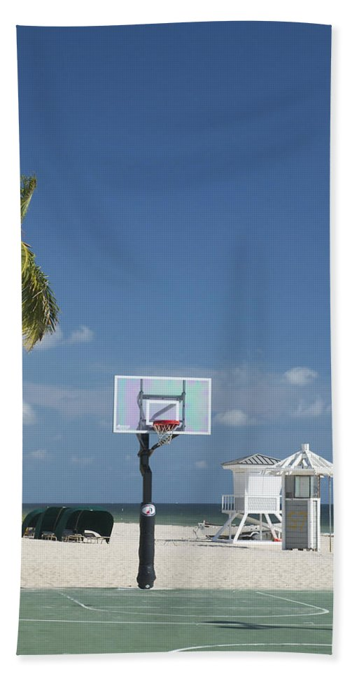 Ft Lauderdale Florida Hand Towel featuring the photograph Basketball Goal On The Beach by Bob Pardue