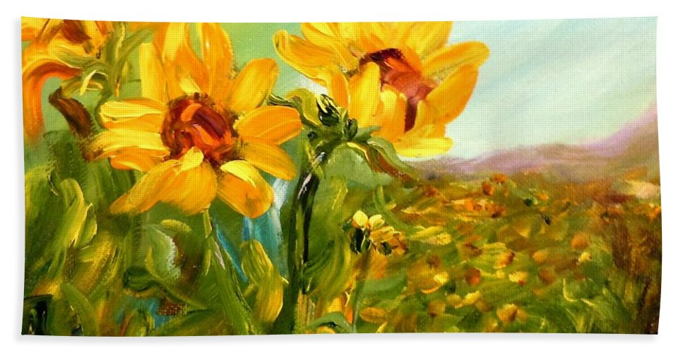 Sunflowers Hand Towel featuring the painting Basking In The Sun by Barbara Pirkle