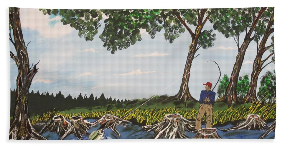 Bath Towel featuring the painting Bass Fishing In The Stumps by Jeffrey Koss