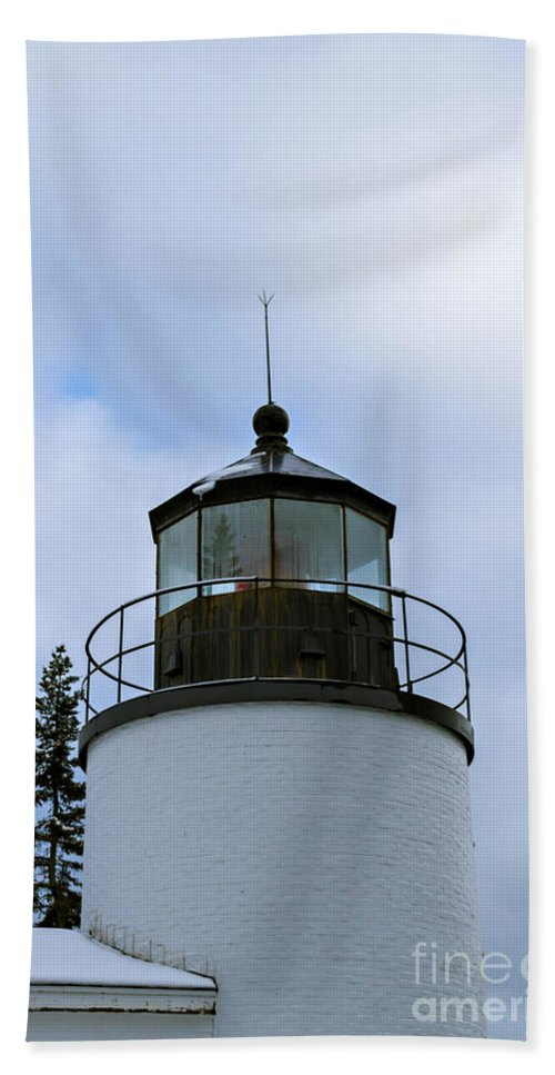 Lighthouse Bath Sheet featuring the photograph Bass Harbor Lighthouse by Bethany Helzer