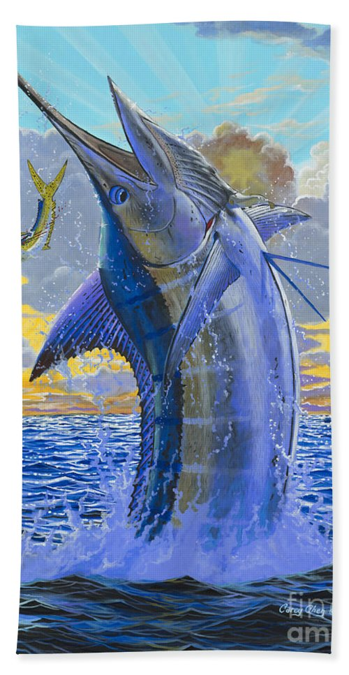 Marlin Hand Towel featuring the painting Bastante Off00142 by Carey Chen