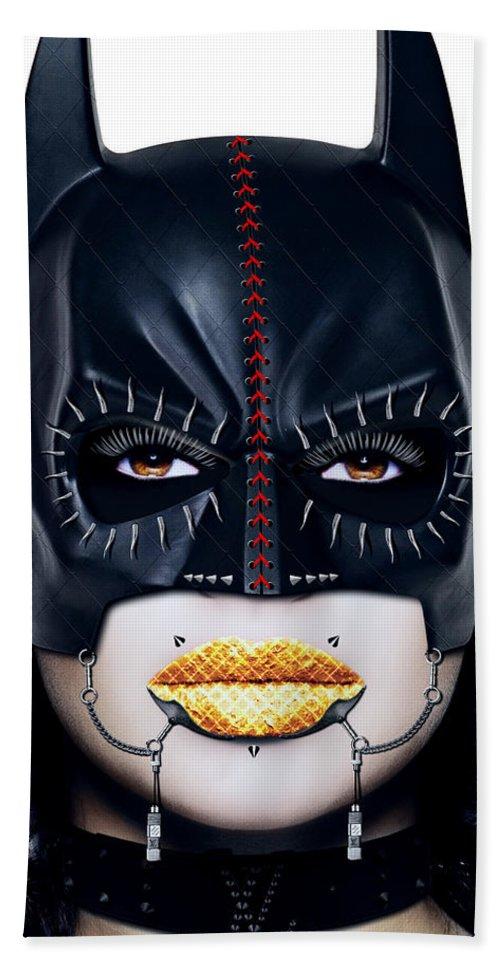 Batman Hand Towel featuring the digital art Bat Girl by Jan Raphael