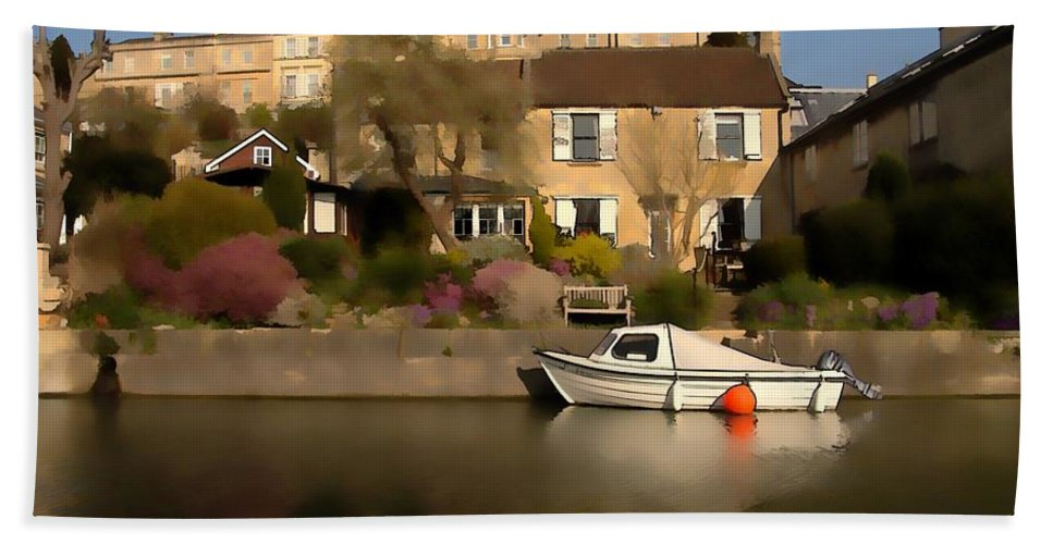 Canal Hand Towel featuring the photograph Bath Canalside by Ron Harpham