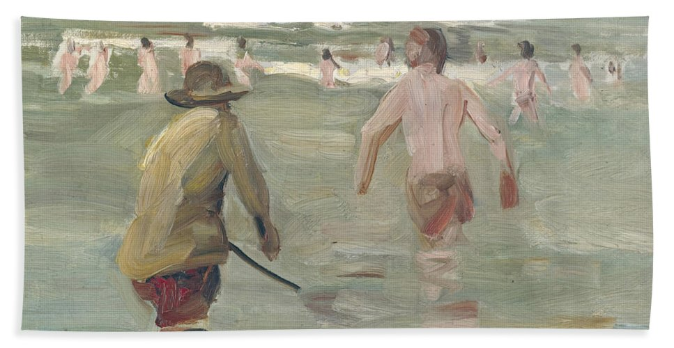 Max Liebermann Bath Sheet featuring the painting Bathing Boys With Crab Fisherman by Max Liebermann