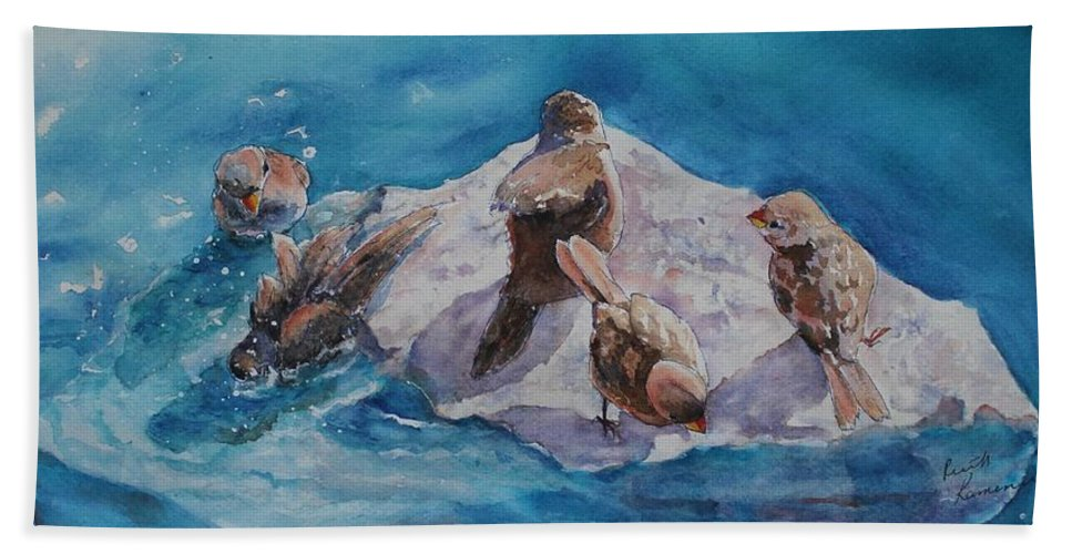 Sparrows Bath Sheet featuring the painting Bathtime by Ruth Kamenev