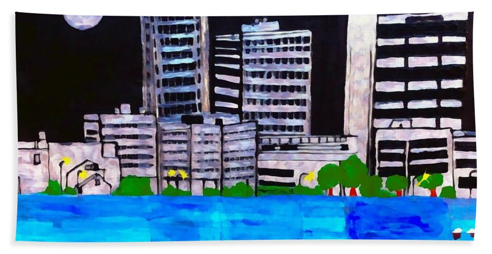 Baton Rouge La Hand Towel featuring the painting Baton Rouge Aka Red Stick Impression by Saundra Myles