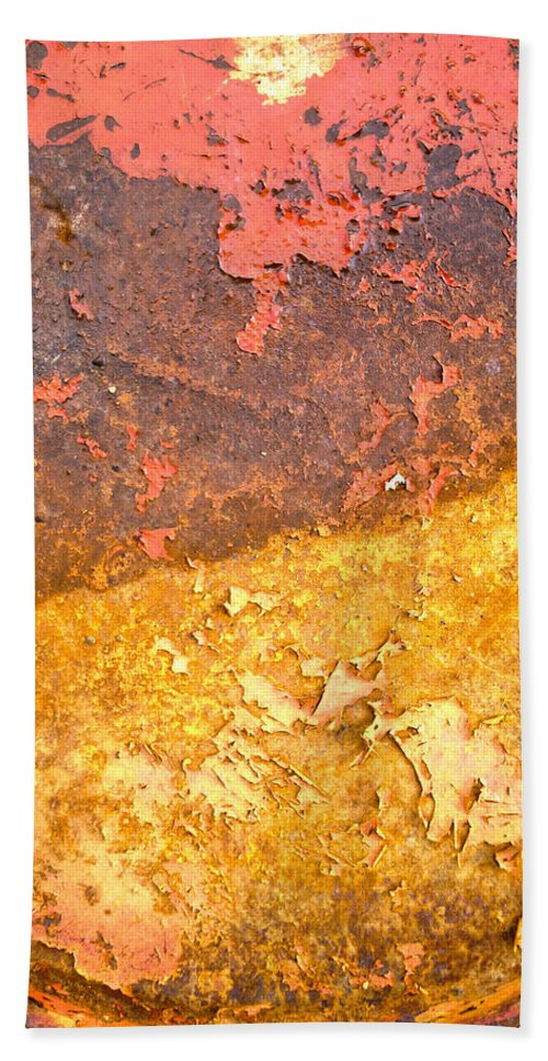Rust Hand Towel featuring the photograph Battered To Rust by The Artist Project