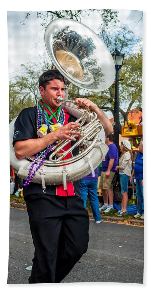 New Orleans Hand Towel featuring the photograph Battered Tuba Blues 3 by Steve Harrington
