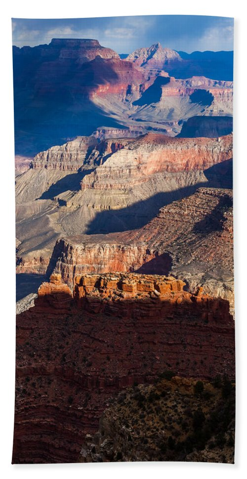 Arizona Hand Towel featuring the photograph Battleship Rock At The Grand Canyon by Ed Gleichman