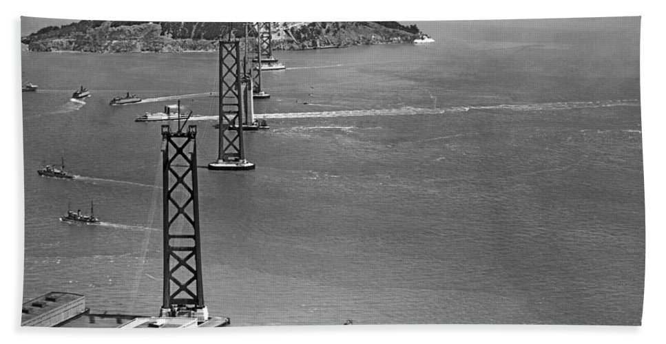1936 Hand Towel featuring the photograph Bay Bridge Under Construction by Charles Hiller