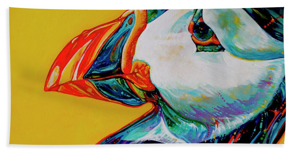 Animal Paintings Hand Towel featuring the painting Bay Bulls Puffin by Derrick Higgins