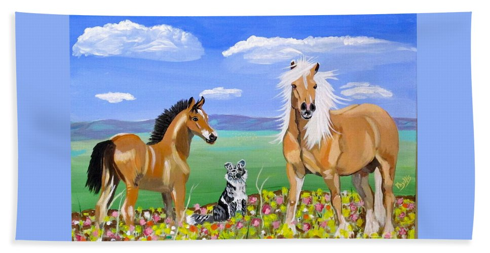 Dog Anf Horses Bath Sheet featuring the painting Bay Colt Golden Palomino And Pal by Phyllis Kaltenbach