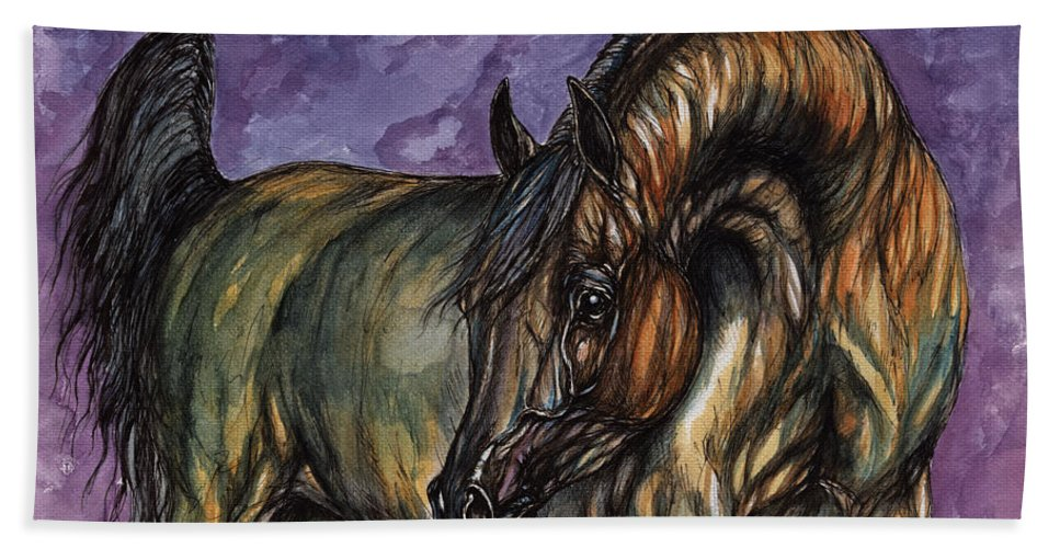 Psychodelic Hand Towel featuring the painting Bay Horse On The Purple Background by Angel Ciesniarska