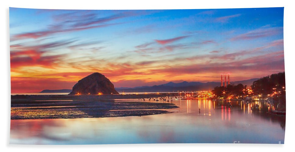 Evening Bath Sheet featuring the photograph Bay Lights by Beth Sargent