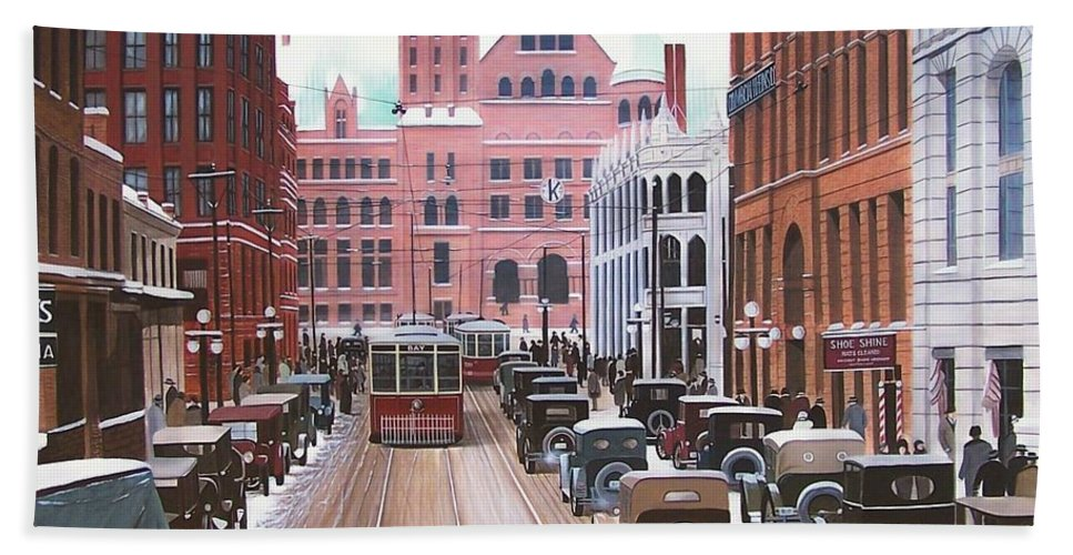 Streetscapes Bath Towel featuring the painting Bay Street Christmas Eve 1924 by Kenneth M Kirsch