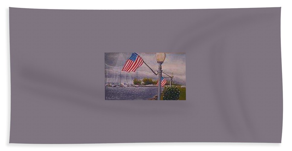 Rick Huotari Bath Towel featuring the painting Bayfield on the 4th by Rick Huotari