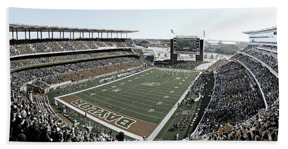 Baylor Bath Sheet featuring the photograph Baylor Gameday No 4 by Stephen Stookey