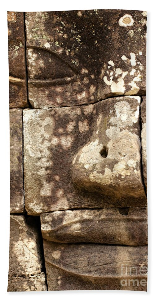 Ancient Bath Sheet featuring the photograph Bayon - Cambodia by Luciano Mortula
