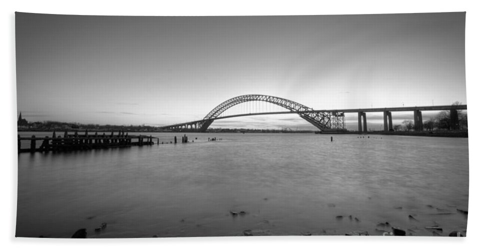 Sunset Hand Towel featuring the photograph Bayonne Bridge Long Exposure Bw by Michael Ver Sprill