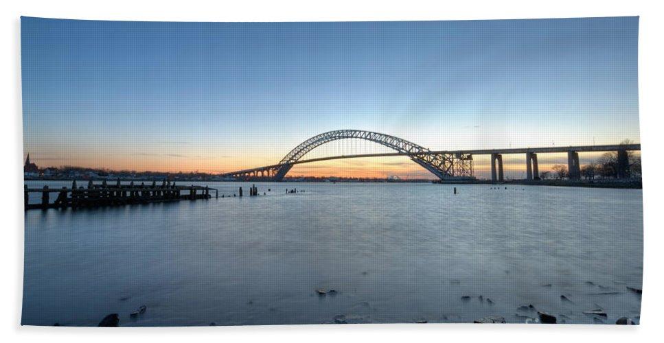 Sunset Hand Towel featuring the photograph Bayonne Bridge Longe Exposure Sunset by Michael Ver Sprill