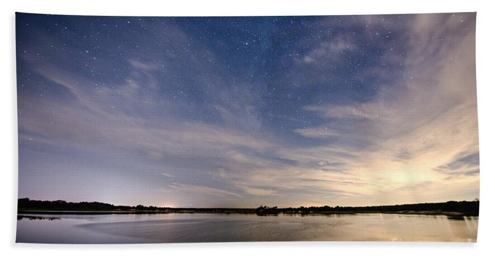 Fisheye Hand Towel featuring the photograph Bayville Nj Milky Way by Michael Ver Sprill