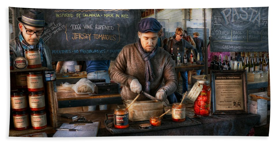 Amsterdam Market Hand Towel featuring the photograph Bazaar - We Sell Tomato Sauce by Mike Savad