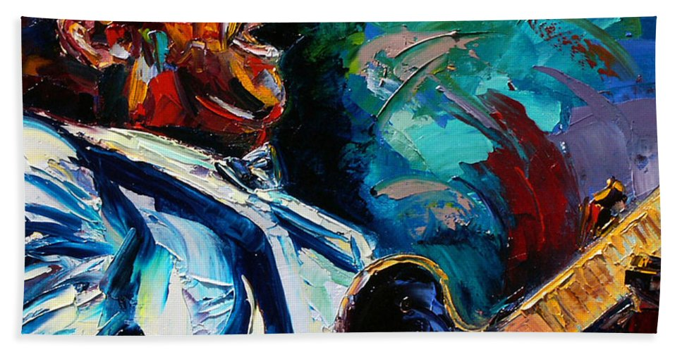 Musicians Bath Towel featuring the painting Bb King by Debra Hurd