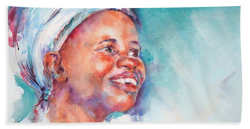 Africa Hand Towel featuring the painting Be Happy by Stephie Butler