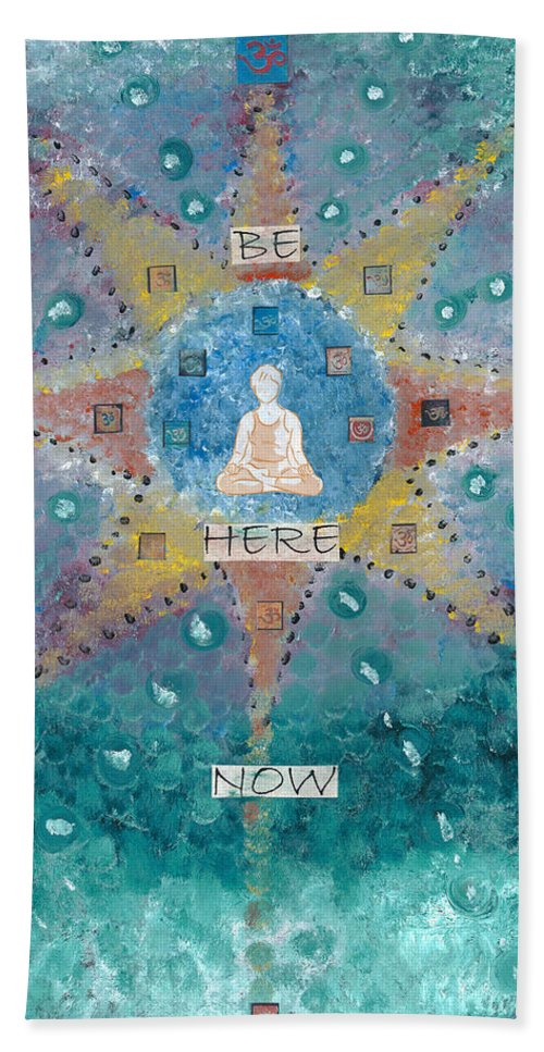 Energy Painting Hand Towel featuring the painting Be Here Now by Jessica Rosen
