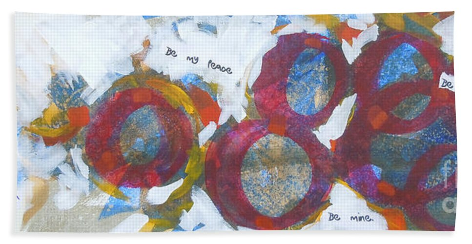 Abstract Hand Towel featuring the painting Be Mine by Tonya Henderson