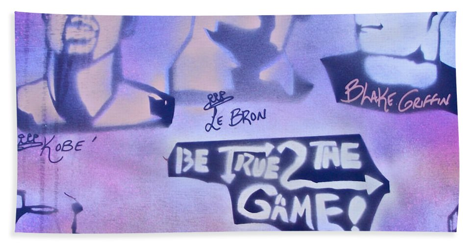 Kobe Bryant Hand Towel featuring the painting Be True 2 The Game 1 by Tony B Conscious