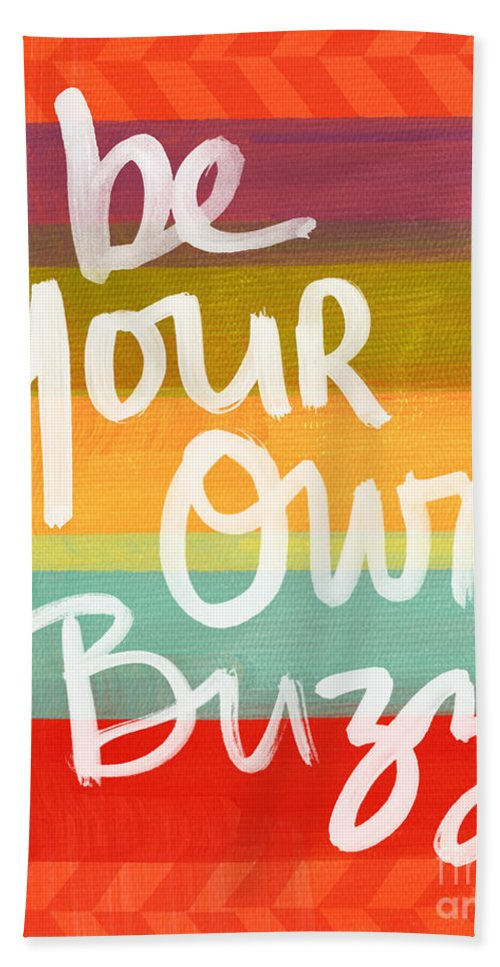 Stripes Bath Towel featuring the painting Be Your Own Buzz by Linda Woods