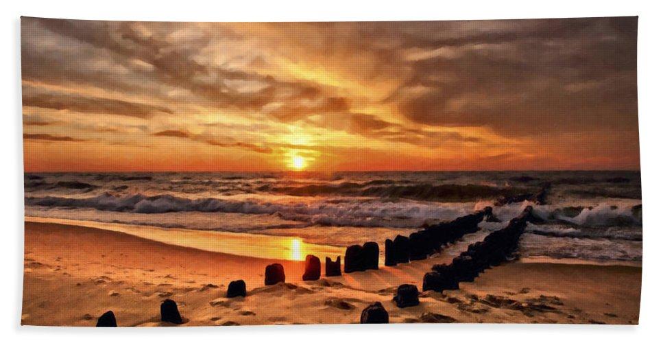 Clouds Hand Towel featuring the photograph Beach 5 by Ingrid Smith-Johnsen