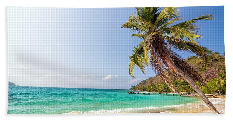 Capurgana Hand Towel featuring the photograph Beach And Palm Tree by Jess Kraft