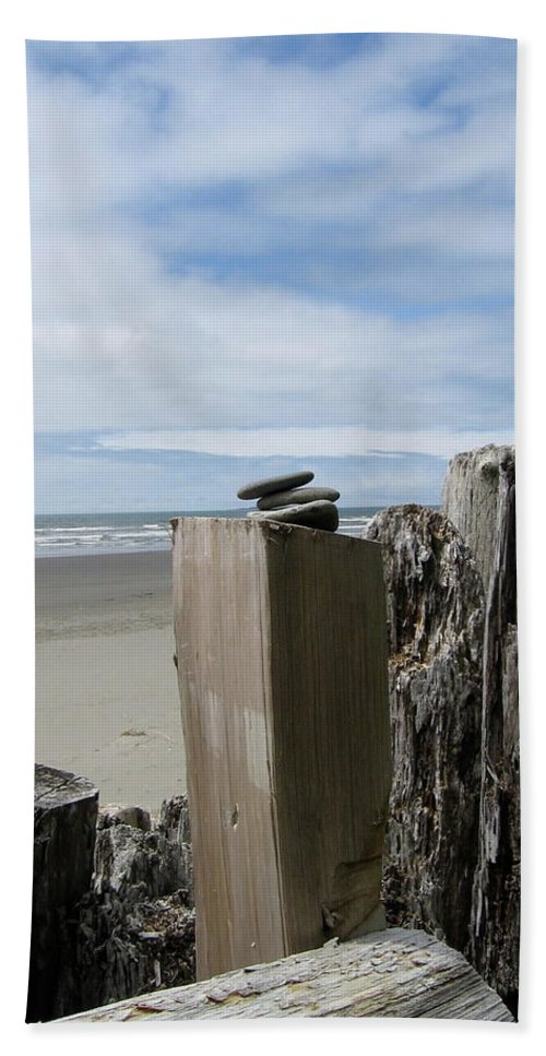 Kalaloch Bath Sheet featuring the photograph Beach And Sky by Kimberly Maxwell Grantier