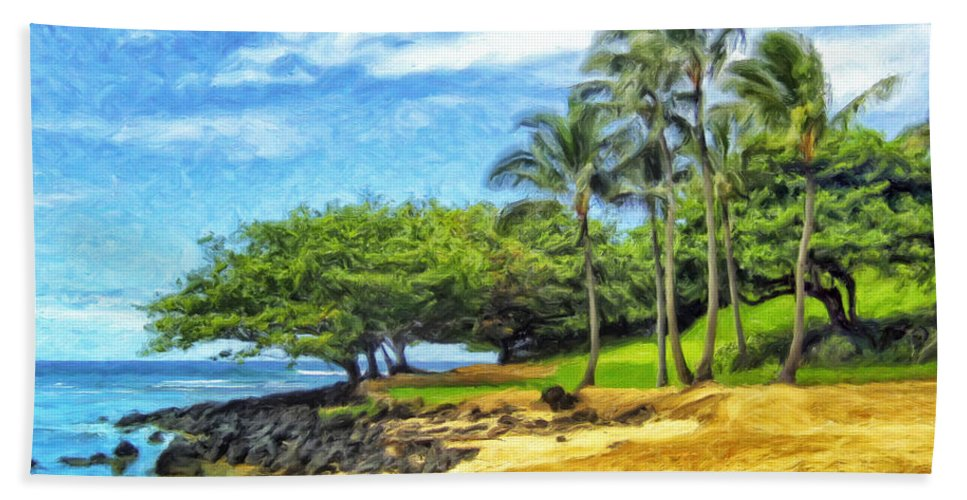 Princeville Bath Sheet featuring the painting Beach At Princeville Kauai by Dominic Piperata